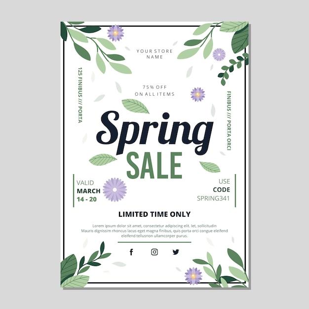 Flyer De Vente De Printemps Design Plat Avec Des Feuilles Vecteur gratuit