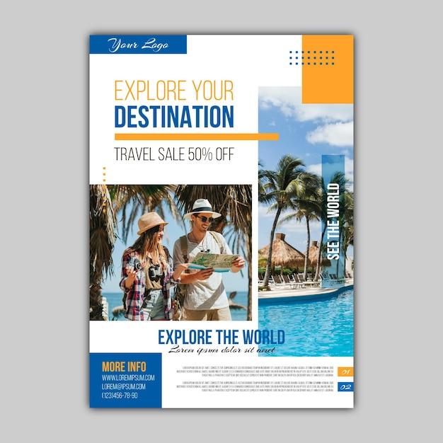 Flyer De Vente De Voyage Abstrait Avec Photo Vecteur gratuit
