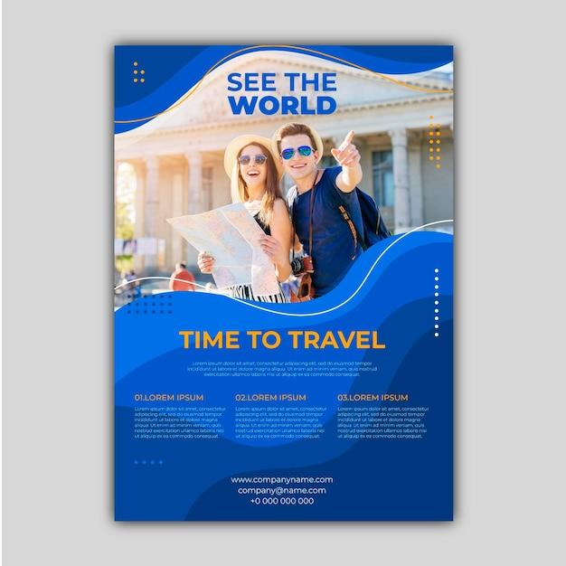 Flyer De Vente De Voyage Avec Modèle Photo Vecteur Premium