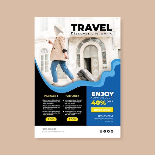 Flyer De Vente De Voyage Avec Photo Vecteur gratuit