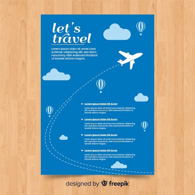 Flyer voyage avion Vecteur gratuit