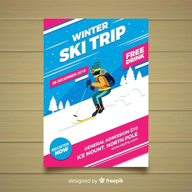 Flyer de voyage de ski Vecteur gratuit
