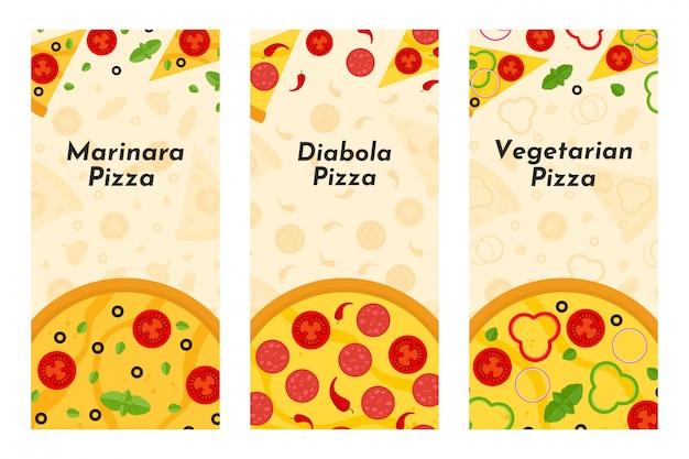 Flyers de vecteur de pizza et pizzeria Vecteur Premium