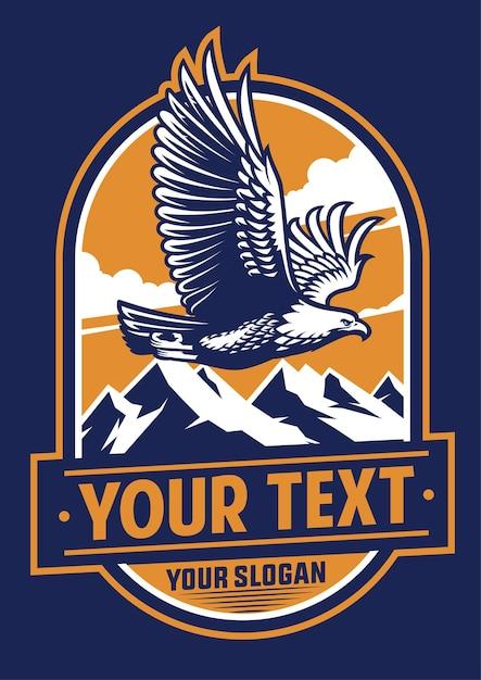 Flying Eagle Insigne Design Logo Illustration Plate Vecteur Premium