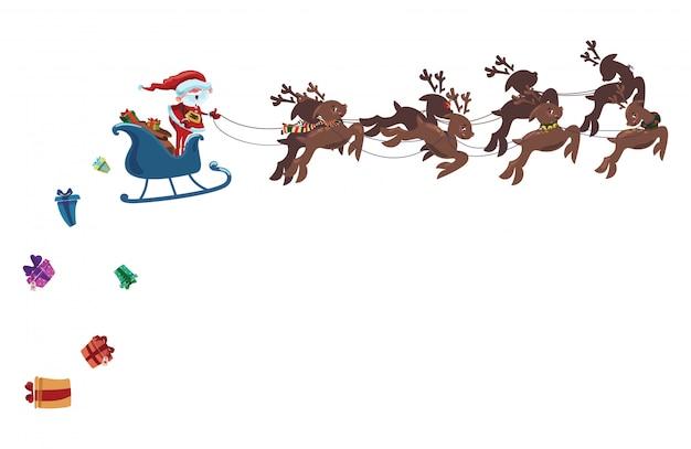 Flying Santa Dans Un Traîneau Avec Des Cerfs. Illustration De Noël Du Père Noël. Vecteur Premium