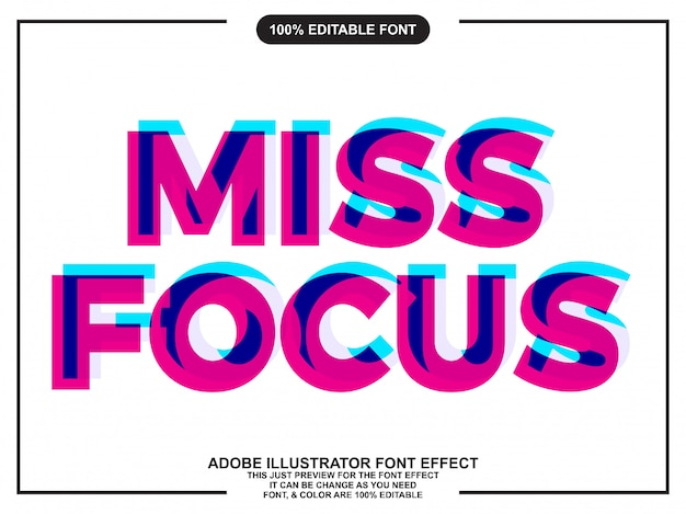 Focus surimpression effet de police de style de texte Vecteur Premium