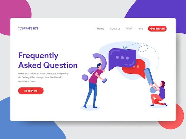Foire aux questions illustration pour la page d'accueil Vecteur Premium