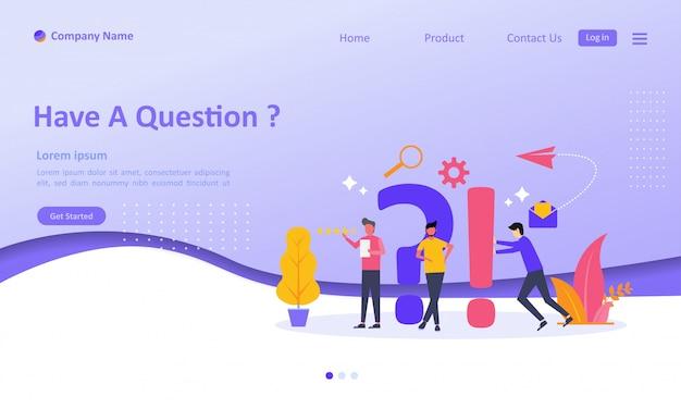 Foire aux questions landing page Vecteur Premium