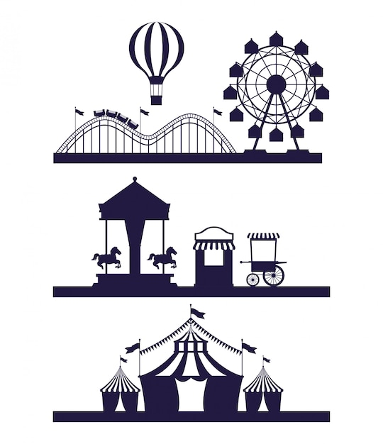 La foire du festival de cirque définit des scénarios de couleurs bleu et blanc Vecteur gratuit