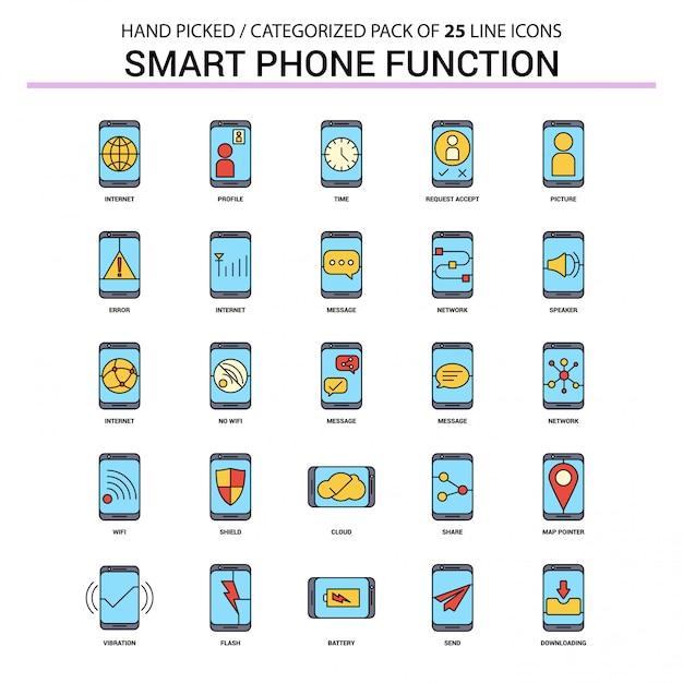 Fonctions de téléphone intelligent flat line icon set Vecteur Premium