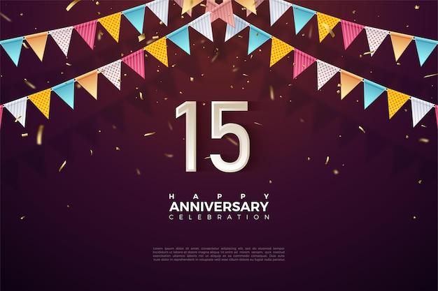 Fond De 15e Anniversaire Avec Illustration De Drapeau Coloré Et Numéros Juste En Dessous. Vecteur Premium