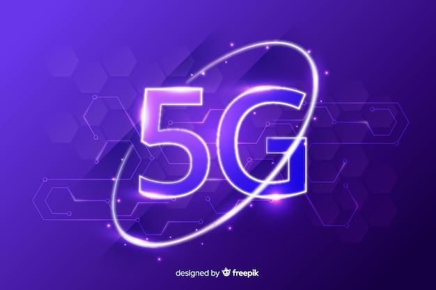 Fond avec 5g concept violet Vecteur gratuit