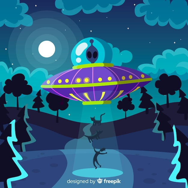Fond d'abduction de science-fiction Vecteur gratuit