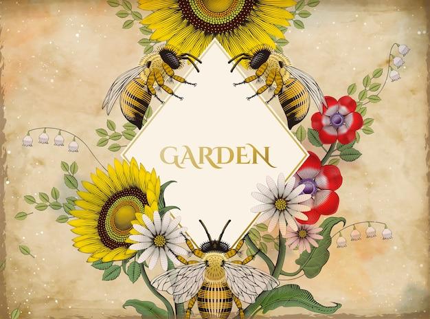 Fond D'abeilles Et De Fleurs à Miel, Style D'ombrage Rétro Dessiné à La Main Avec Forme De Losange Vierge Au Milieu Vecteur Premium