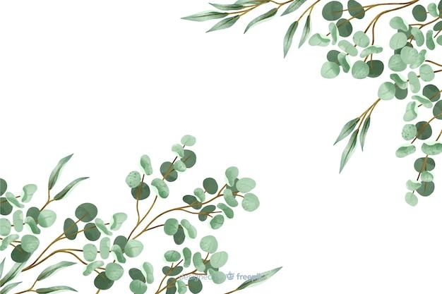 Fond abstrait de feuilles peintes Vecteur gratuit