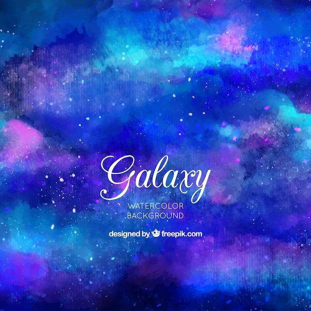 Fond abstrait de la galaxie aquarelle en couleur bleue