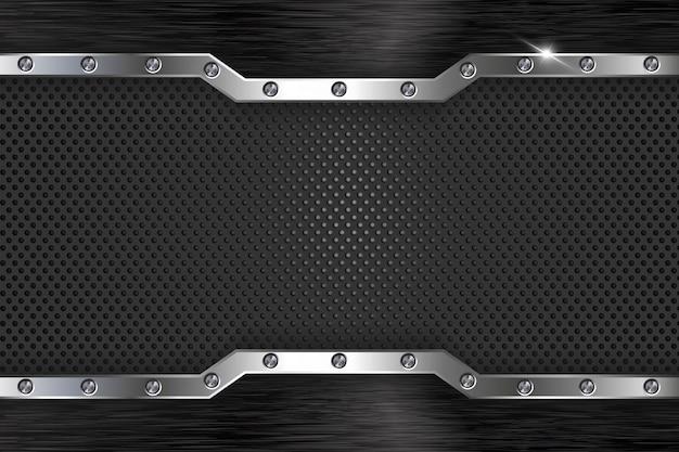 Fond abstrait en métal noir Vecteur Premium