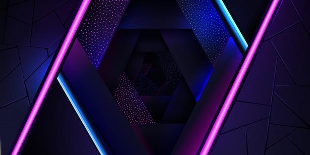 Le fond abstrait néon avec une ligne de lumière bleue et rose et une texture de points. Vecteur Premium