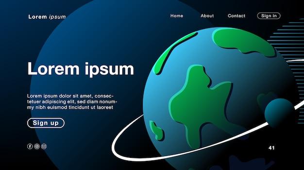 Fond abstrait noir monde pour la page d'accueil Vecteur Premium