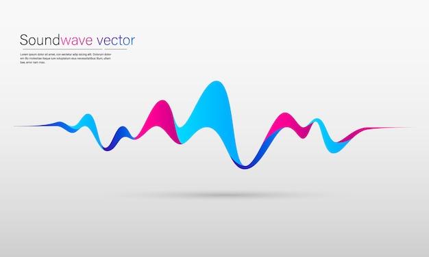 Fond abstrait avec une onde dynamique colorée, une ligne et des particules Vecteur Premium