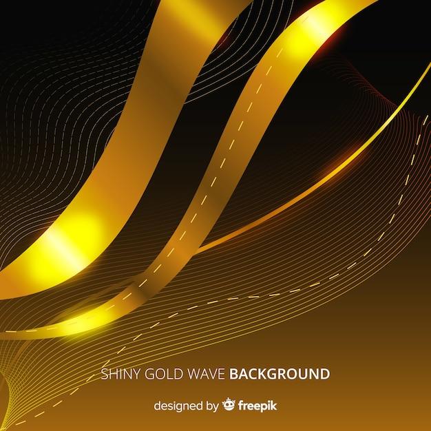 Fond abstrait ondulé doré Vecteur gratuit