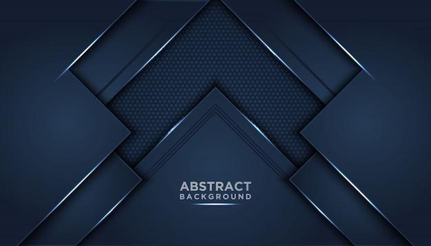 Fond abstrait sombre avec des couches de chevauchement bleu foncé. Vecteur Premium