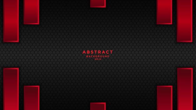 Fond Abstrait Sombre Avec Des Couches De Chevauchement Noir Rouge. Vecteur Premium