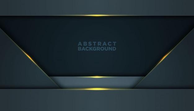 Fond abstrait sombre avec des couches de chevauchement noires. texture avec décoration élément effet doré. Vecteur Premium