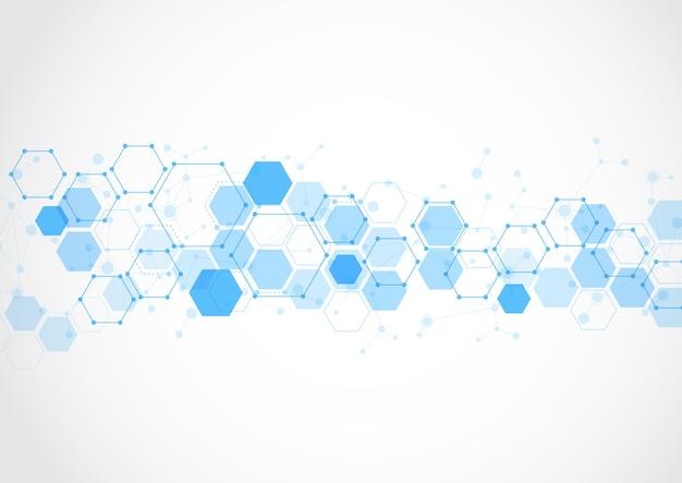 Fond abstrait tech structure moléculaire Vecteur Premium