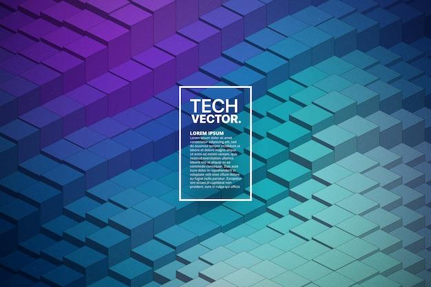 Fond abstrait technologie 3d forme d'onde Vecteur Premium