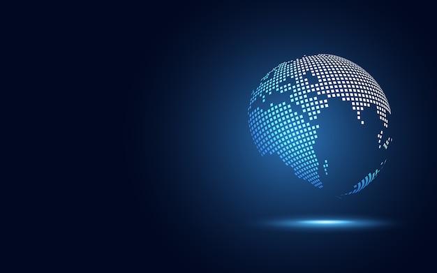Fond abstrait technologie globe transformation numérique Vecteur Premium