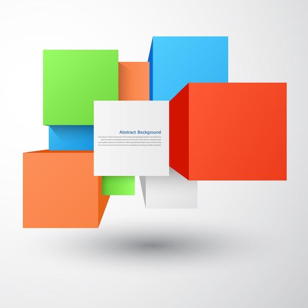 Fond abstrait vectoriel. objet carré et 3d Vecteur gratuit