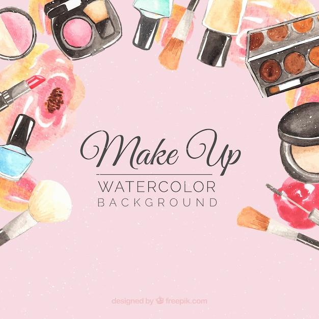 Fond d'accessoires de maquillage Vecteur gratuit