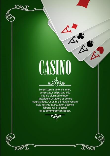 Fond d'affiches logo casino ou flyer avec des cartes à jouer. Vecteur Premium