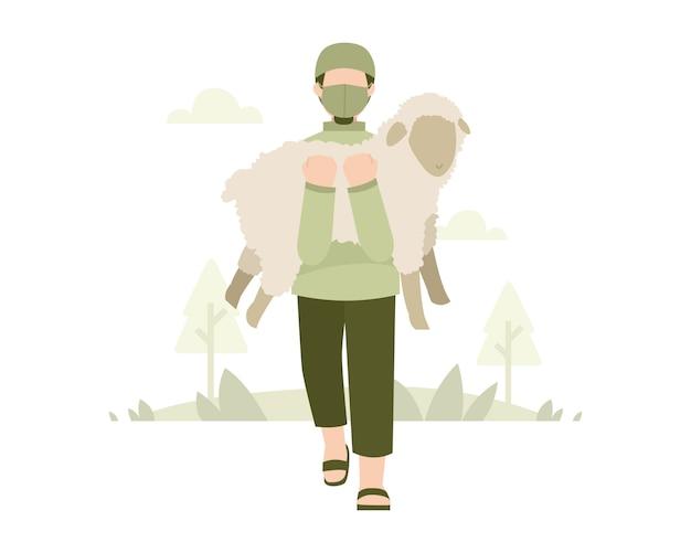 Fond De L'aïd Al-adha Avec Un Homme Portant Un Masque Facial Et Portant Une Illustration De Mouton Vecteur Premium
