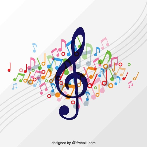 Fond d'aigus avec pentagramme et notes de musique colorées Vecteur gratuit