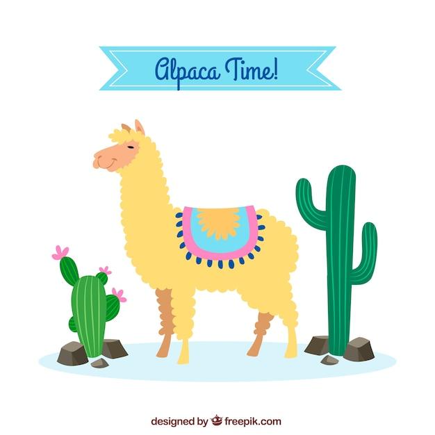 Fond d'alpaga mignon avec cactus Vecteur gratuit