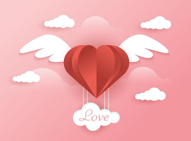 Fond d'amour avec le concept d'ange Vecteur Premium