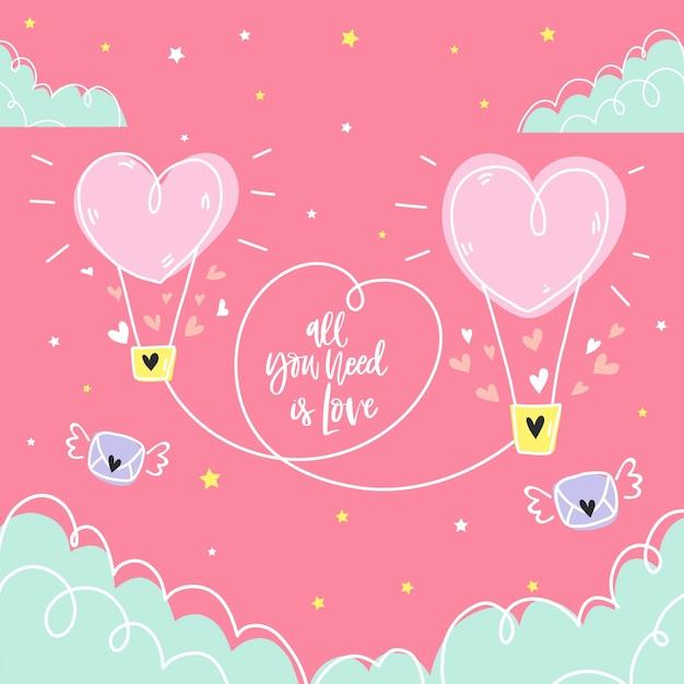 Fond d'amour dessiné à la main avec une couleur pastel Vecteur Premium