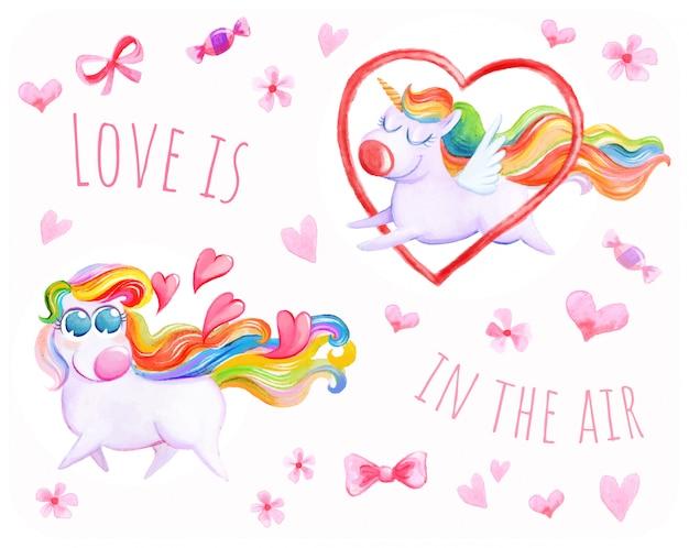 Fond d'amour de licorne volante Vecteur Premium