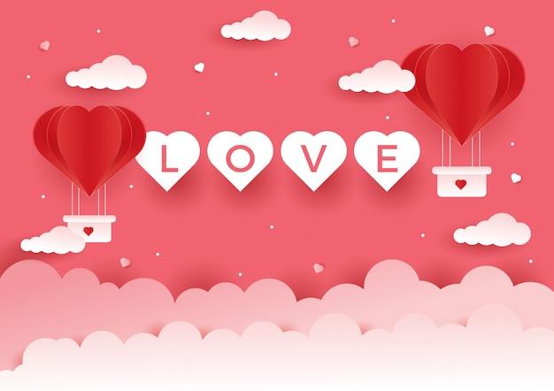 Fond d'amour pour le concept de la saint-valentin Vecteur Premium