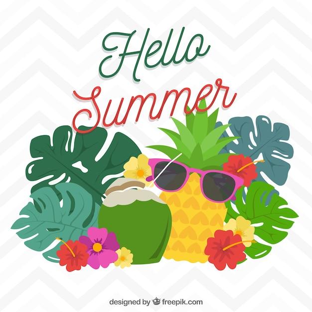 Fond Amusant Avec Des Fruits D'été Vecteur gratuit