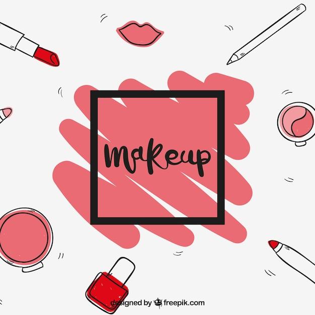 Fond amusant avec maquillage dessiné à la main Vecteur gratuit