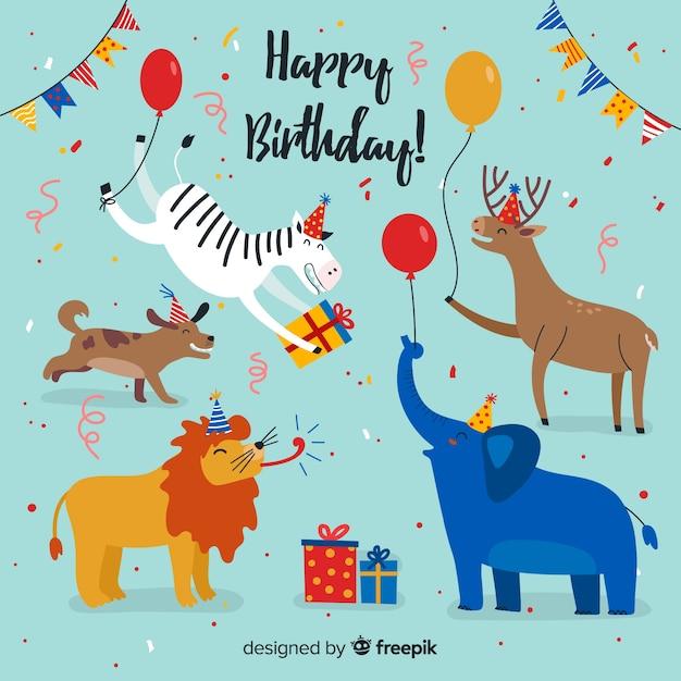 Fond animal anniversaire dessiné à la main Vecteur gratuit