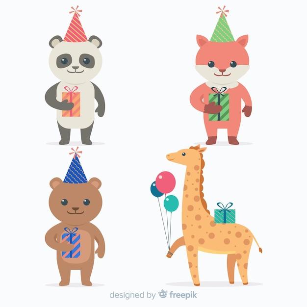 Fond animal d'anniversaire plat Vecteur gratuit