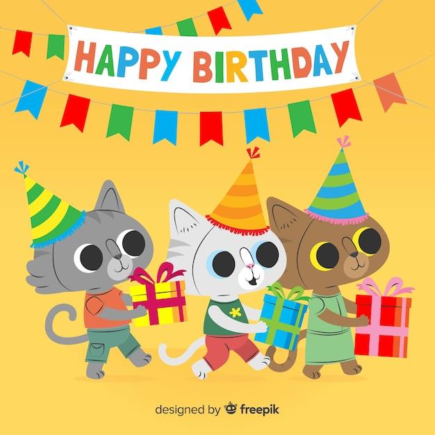 Fond Animal D'anniversaire Plat Vecteur Premium