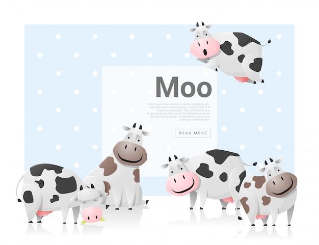 Fond animal avec des vaches Vecteur Premium