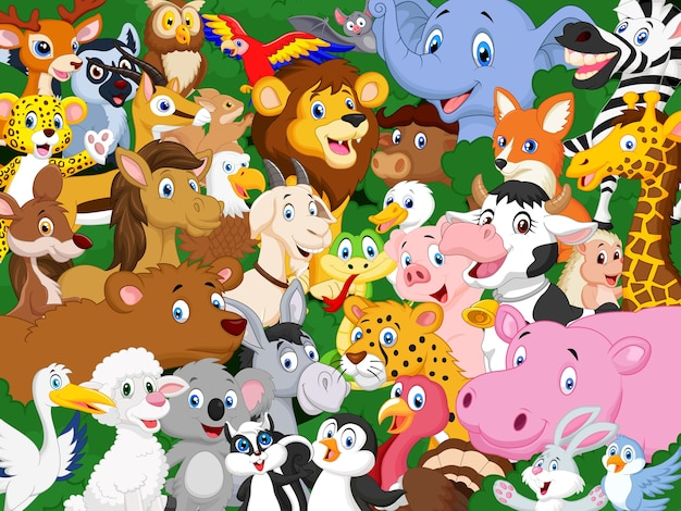Fond d'animaux de dessin animé Vecteur Premium