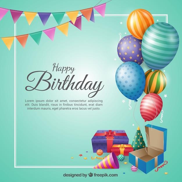 Fond D'anniversaire Au Design Plat Vecteur gratuit