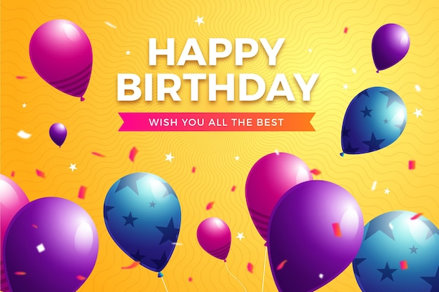 Fond D'anniversaire Avec Des Ballons Et Des Confettis Vecteur gratuit